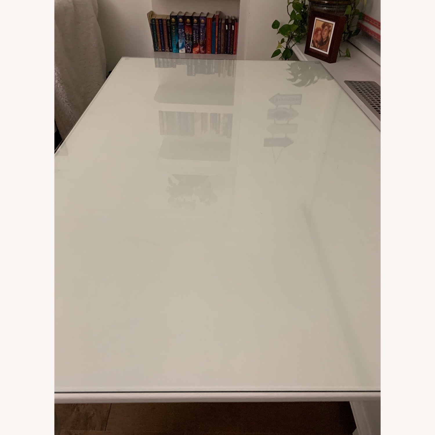Ivory Colored Wood Desk/Side Table w/Glass Top - image-10