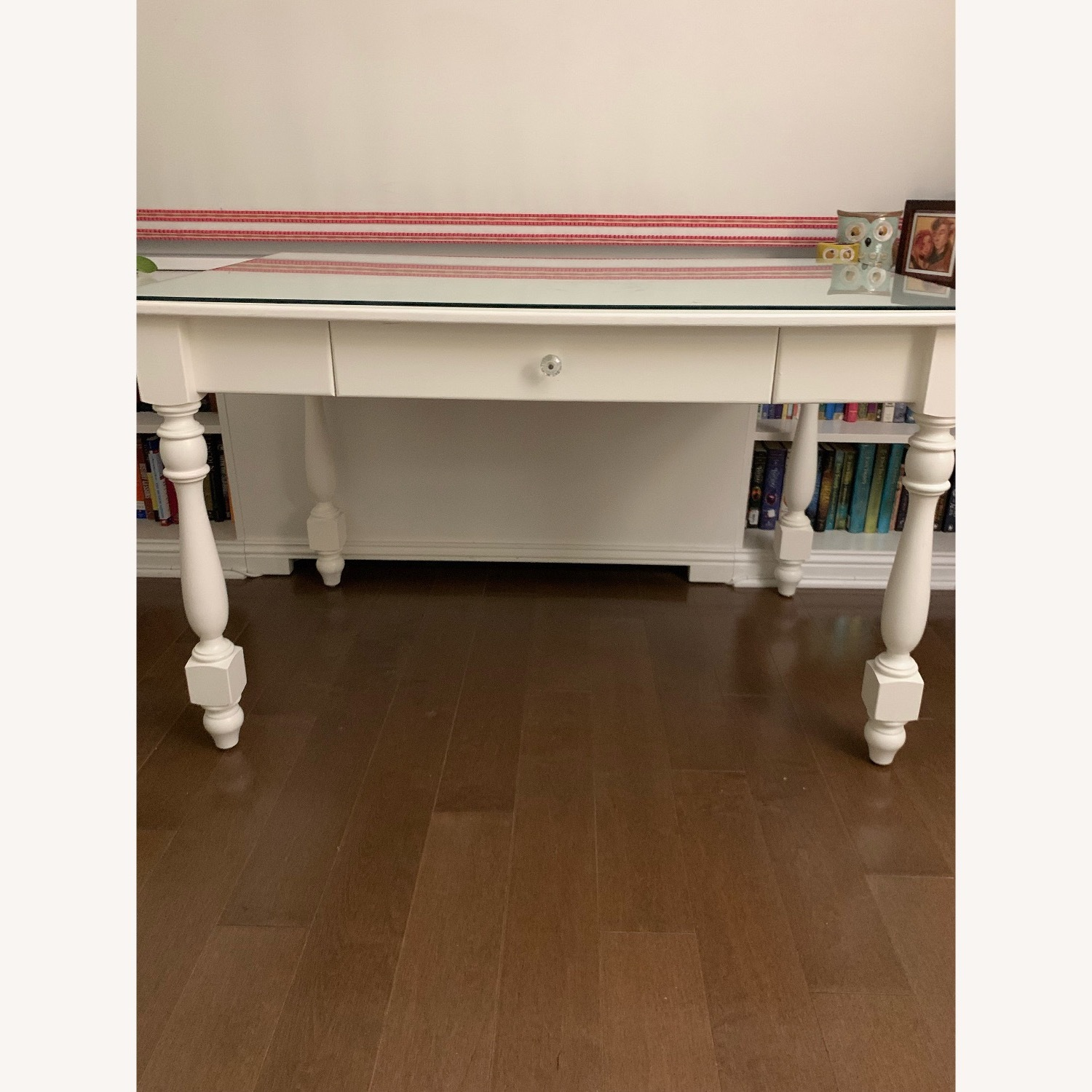 Ivory Colored Wood Desk/Side Table w/Glass Top - image-14