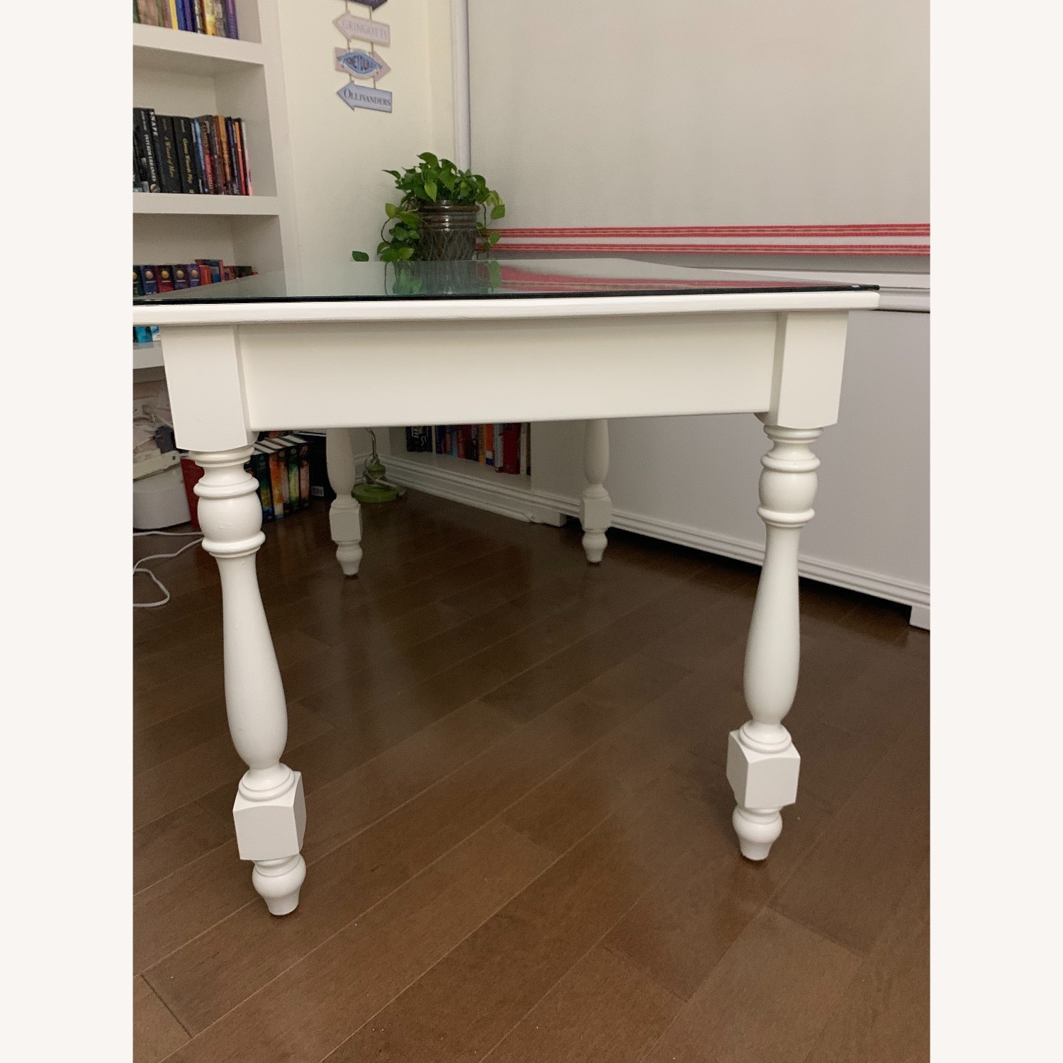 Ivory Colored Wood Desk/Side Table w/Glass Top - image-11