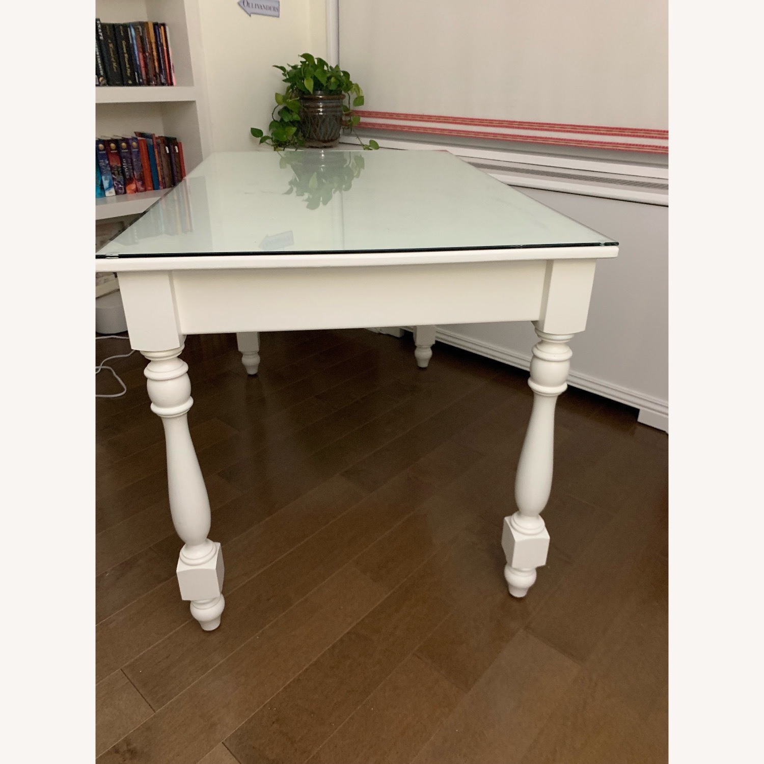 Ivory Colored Wood Desk/Side Table w/Glass Top - image-12