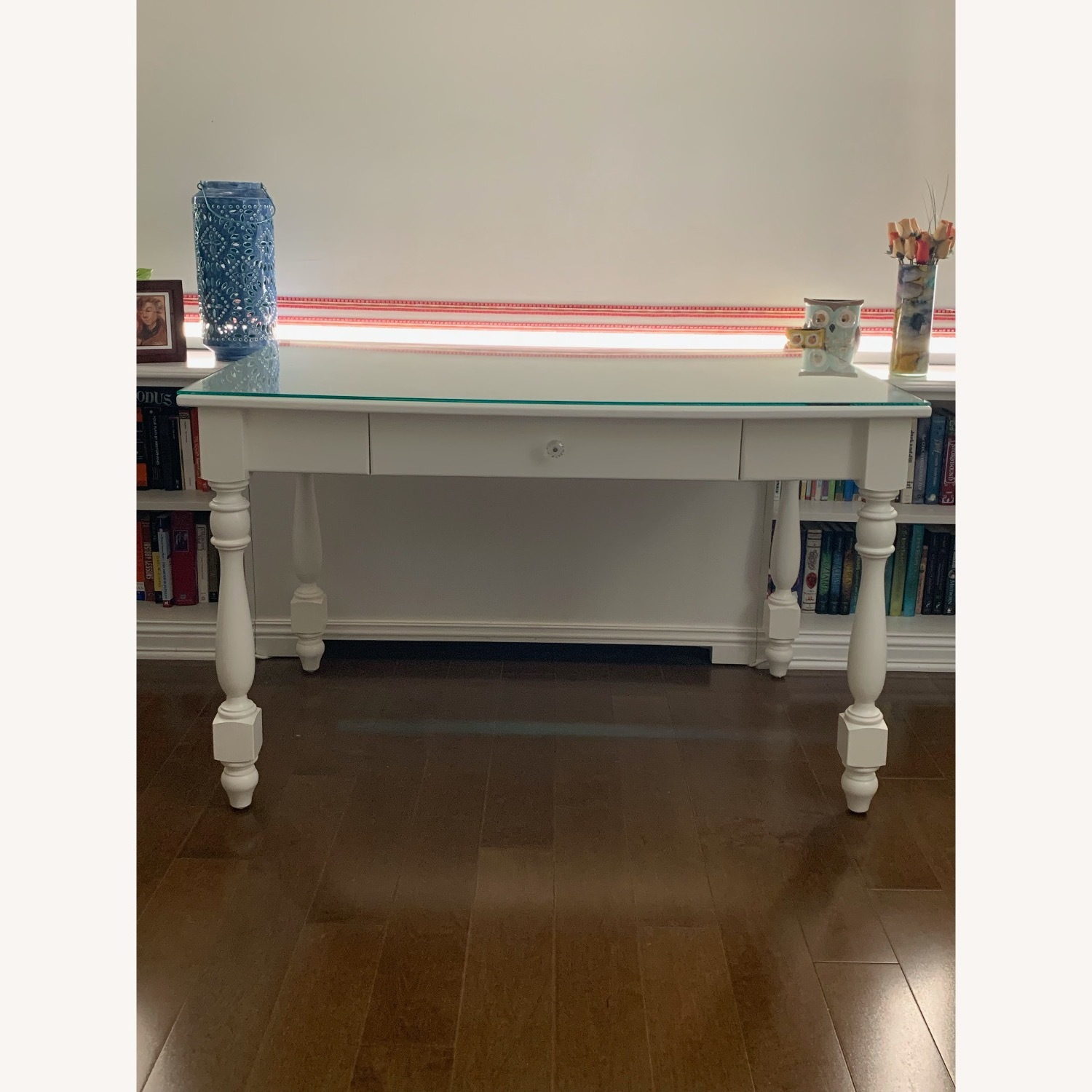 Ivory Colored Wood Desk/Side Table w/Glass Top - image-1