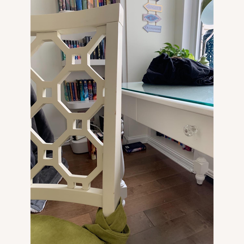 Off White Wood Chair w/Cushion - image-6