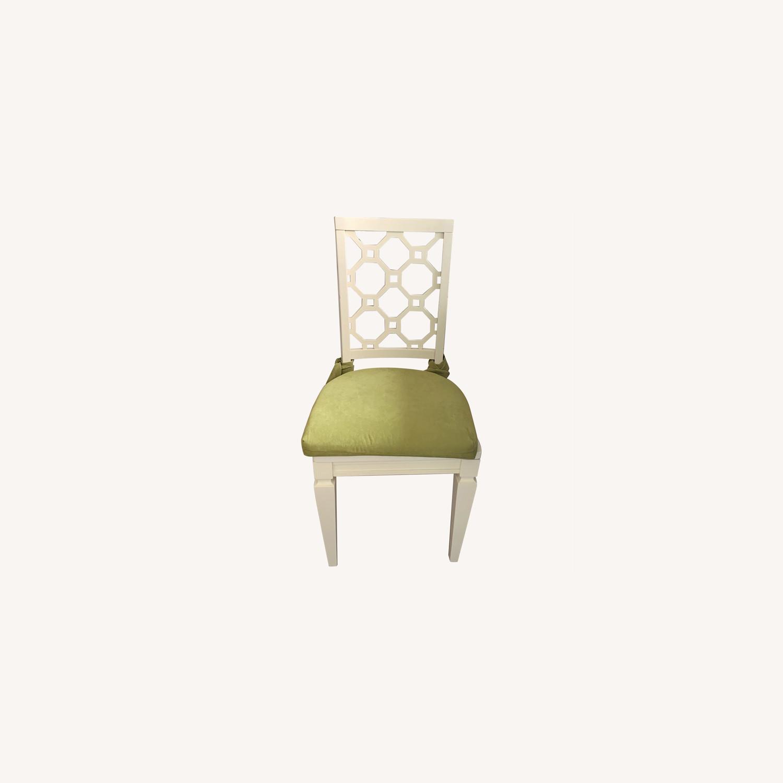 Off White Wood Chair w/Cushion - image-0