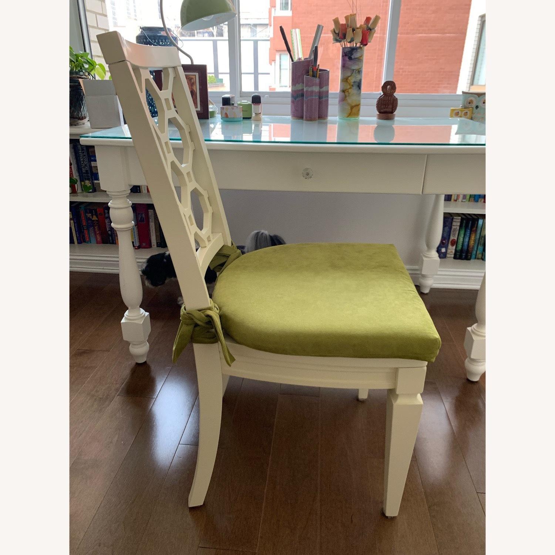 Off White Wood Chair w/Cushion - image-3
