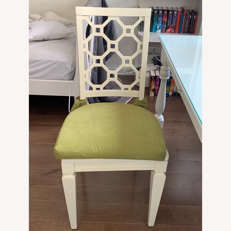 Off White Wood Chair w/Cushion - image-1