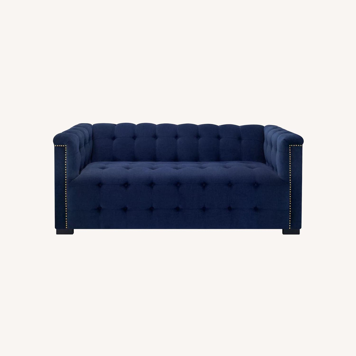 Raymour Flanigan Navy Tufted Loveseat - image-0