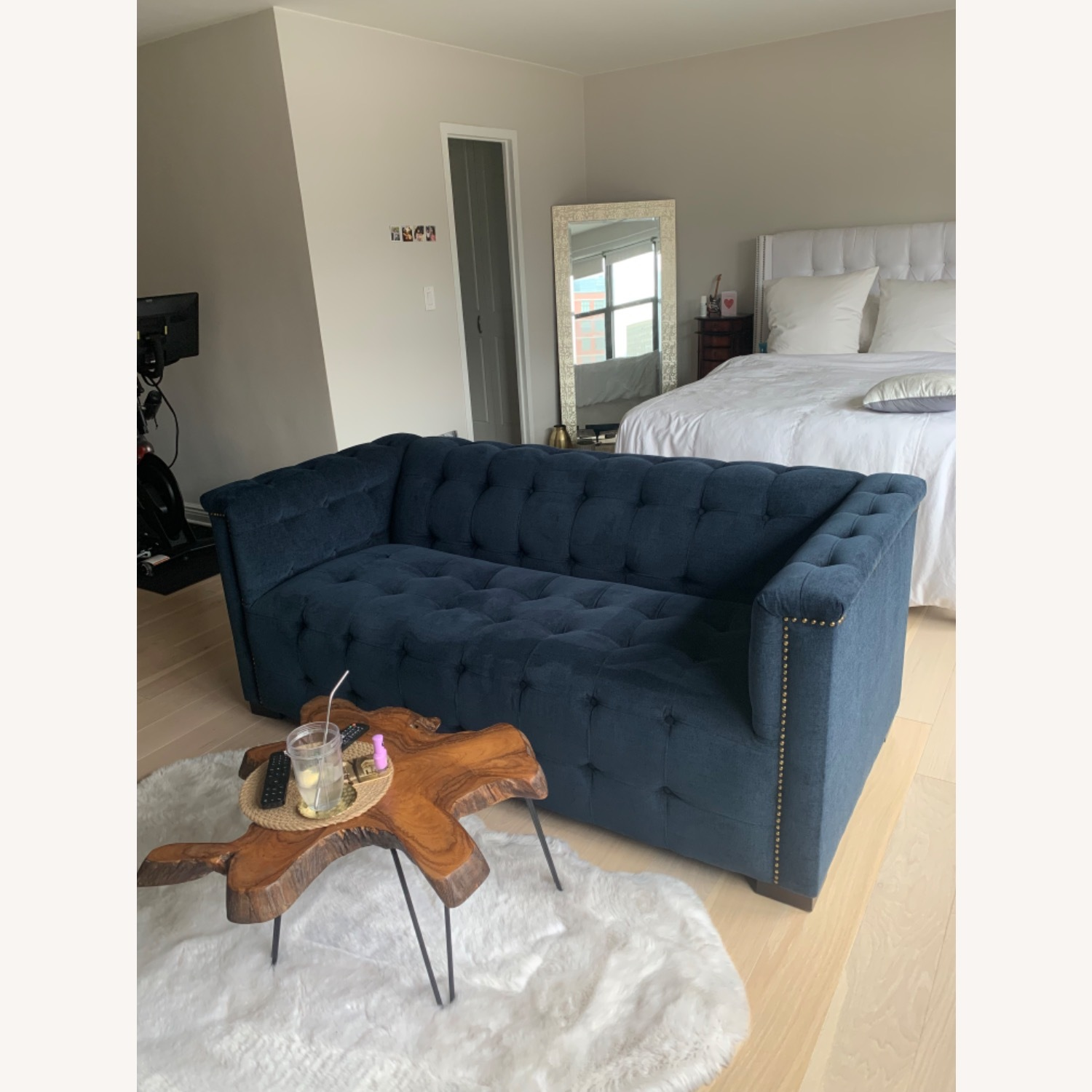 Raymour Flanigan Navy Tufted Loveseat - image-1