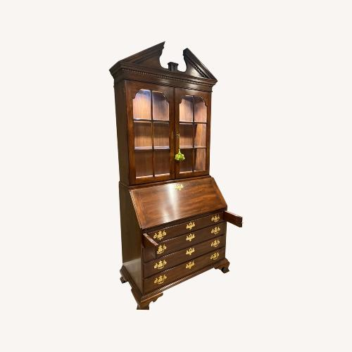 Used Statton Cherry Chippendale Secretary Display Lighted for sale on AptDeco