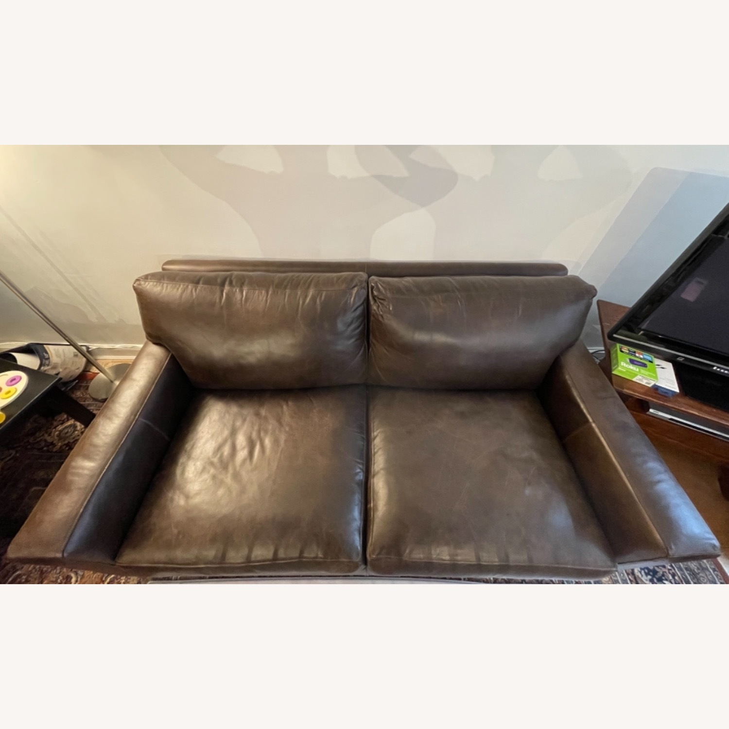 Crate and Barrel Axis Leather 2-Seat Sofa - image-4