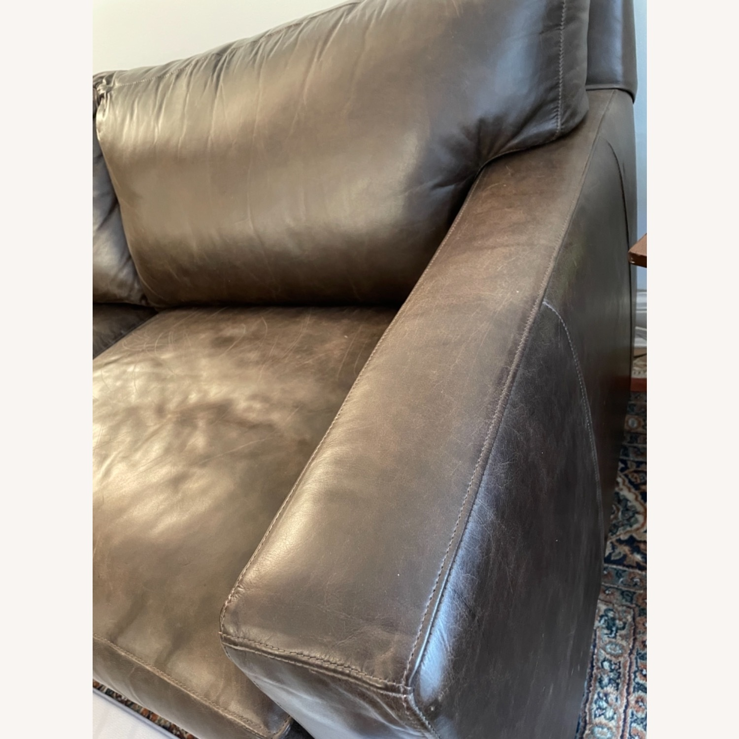 Crate and Barrel Axis Leather 2-Seat Sofa - image-3