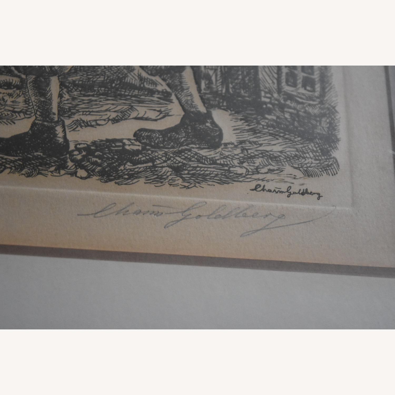 Chaim Goldberg - Signed Etching of Shtetl Life - image-3