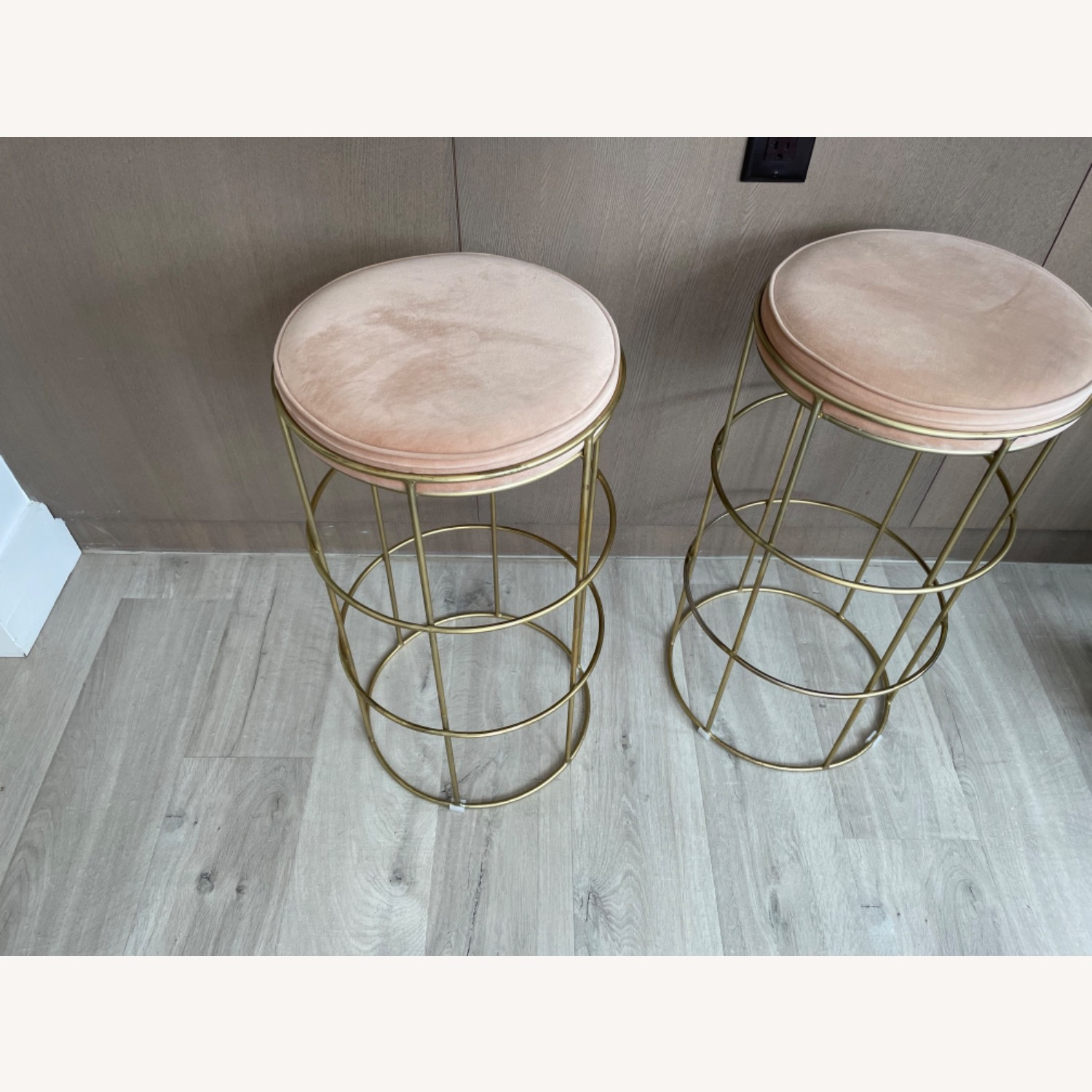 Pink & Gold Counter Stool - image-1