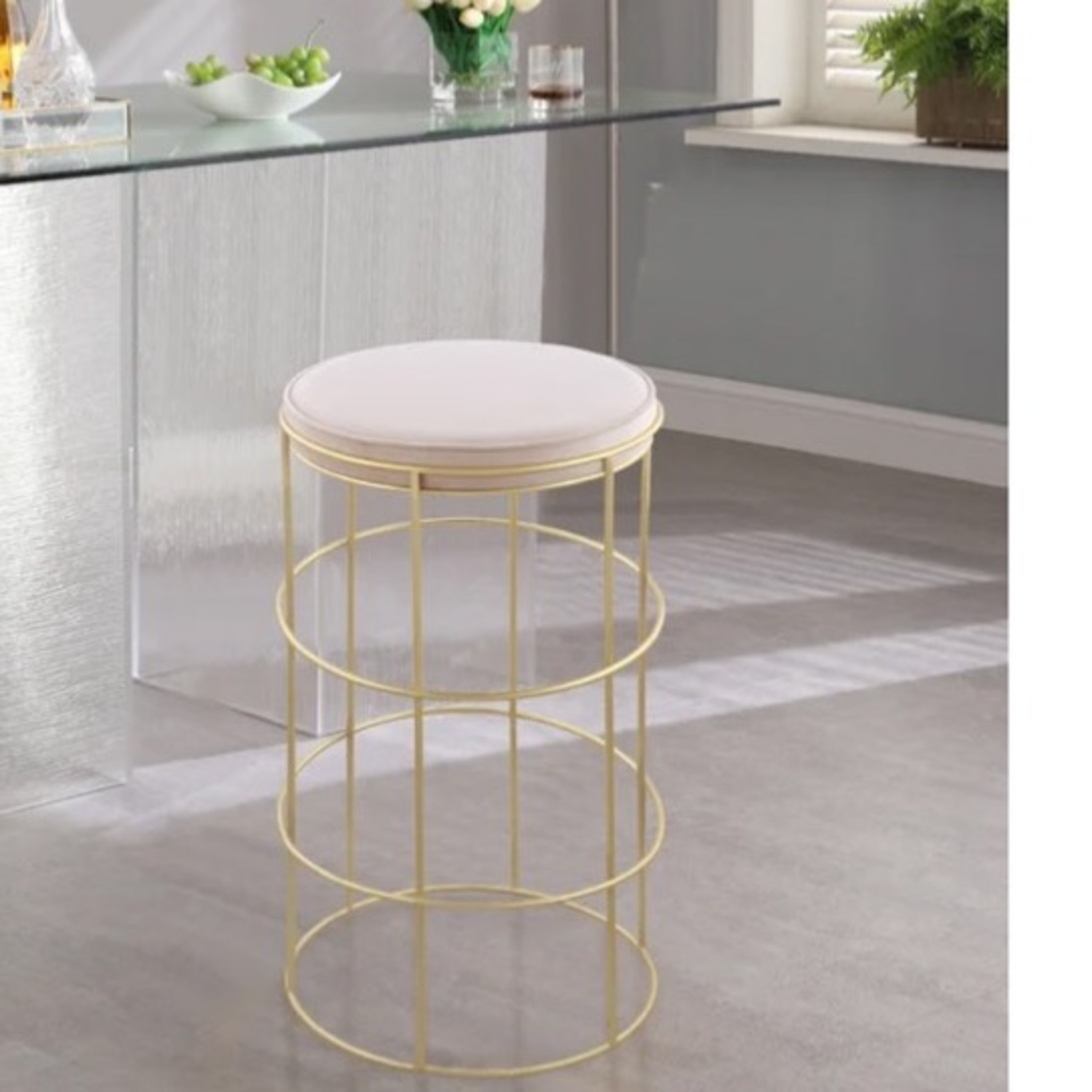 Pink & Gold Counter Stool - image-4