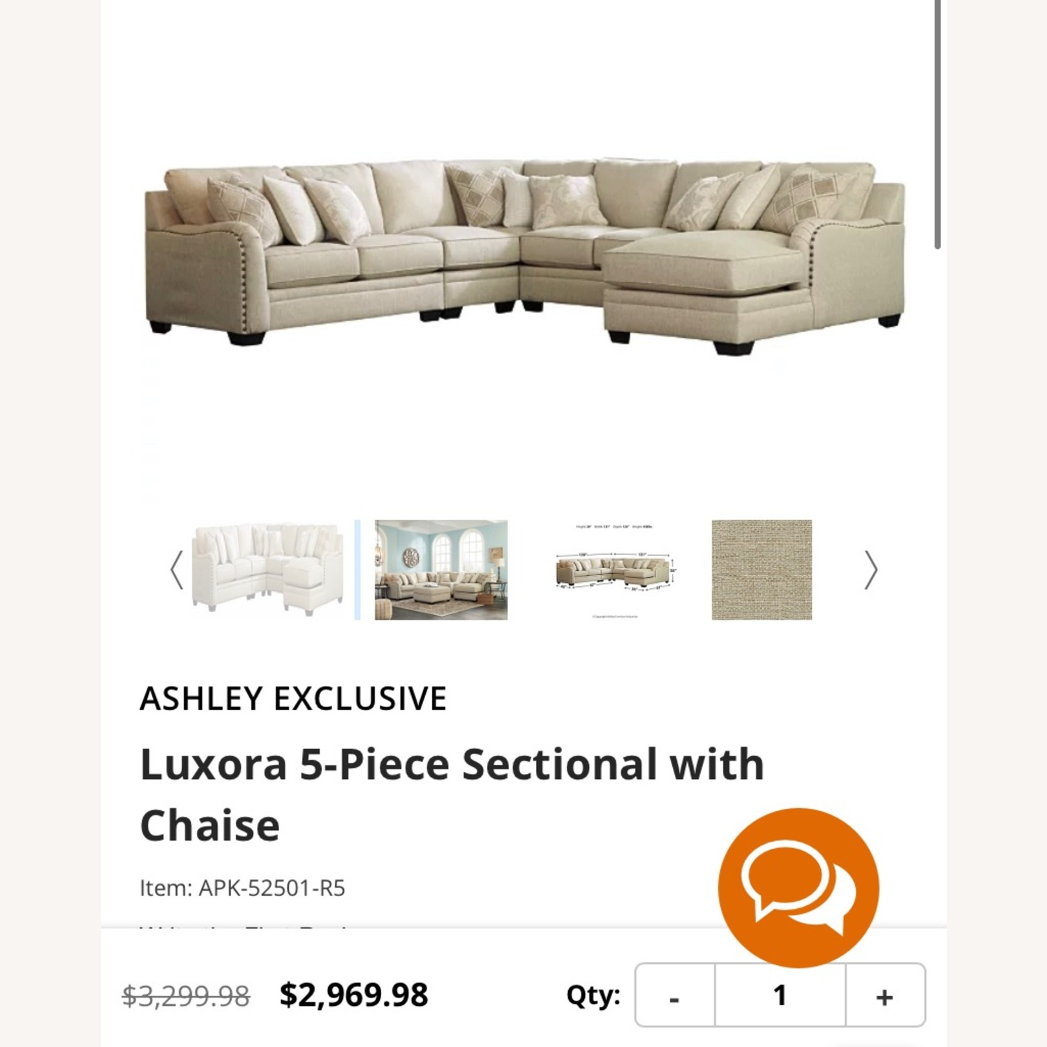 Ashley Furniture 5-pc Sectional with Chaise - image-6
