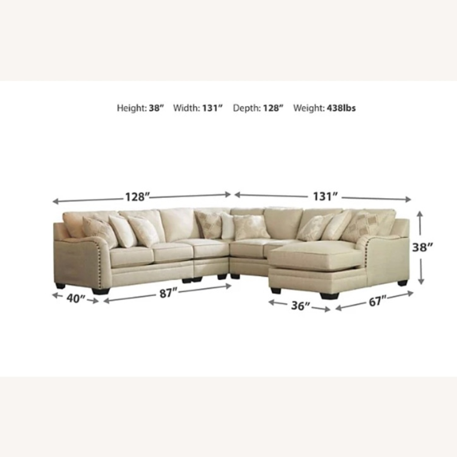 Ashley Furniture 5-pc Sectional with Chaise - image-8