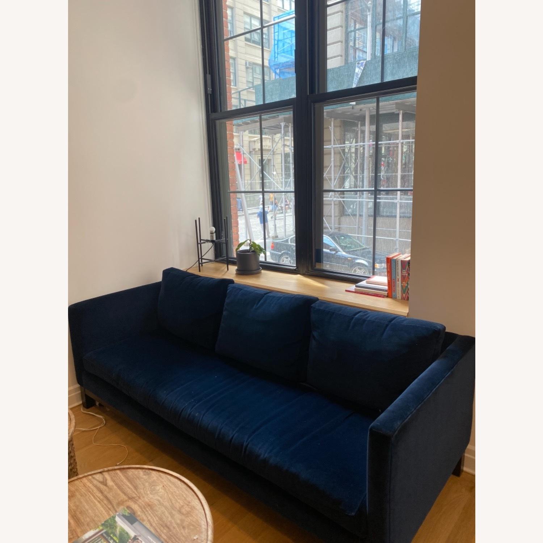 ABC Carpet and Home Blue Velvet Sofa - image-5