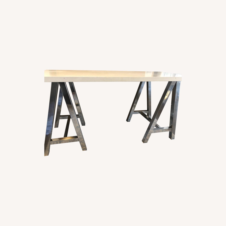 PB Teen White and Metal Desk - image-0