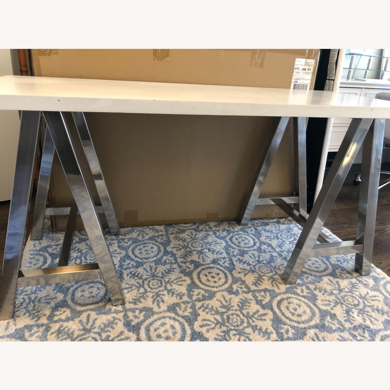 PB Teen White and Metal Desk - image-1