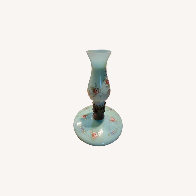Hand-painted Jade Glass 19th Century Lamp - image-0