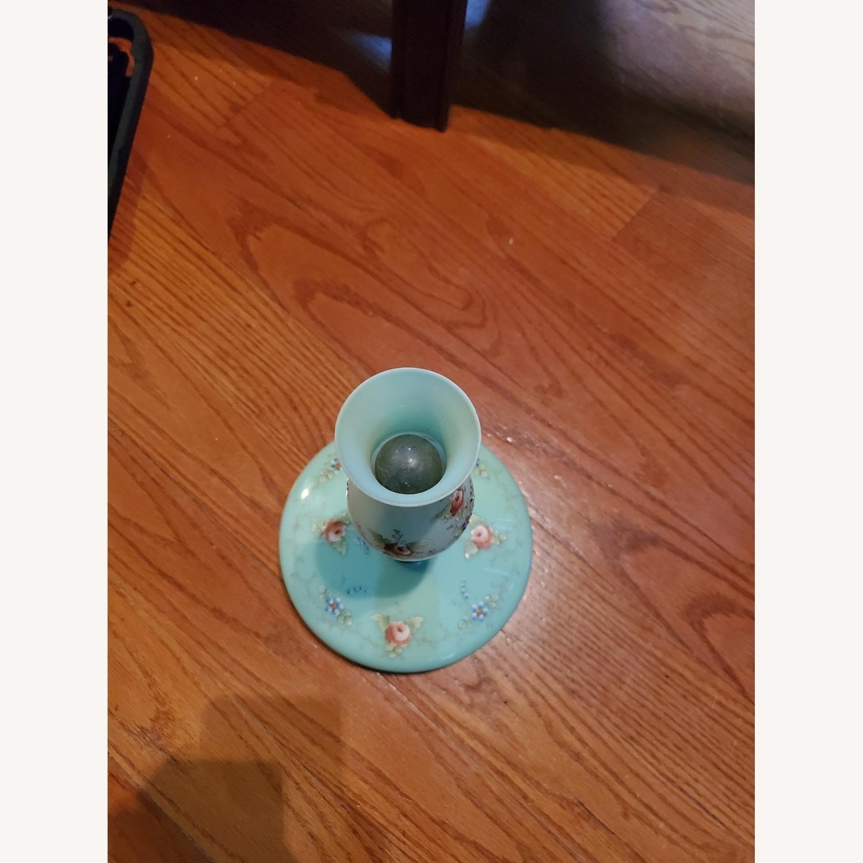 Hand-painted Jade Glass 19th Century Lamp - image-3