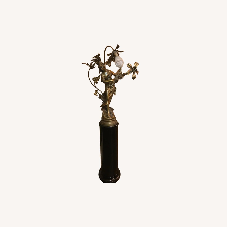 Antique Bronze Patina Statue Light on Pedestal - image-0