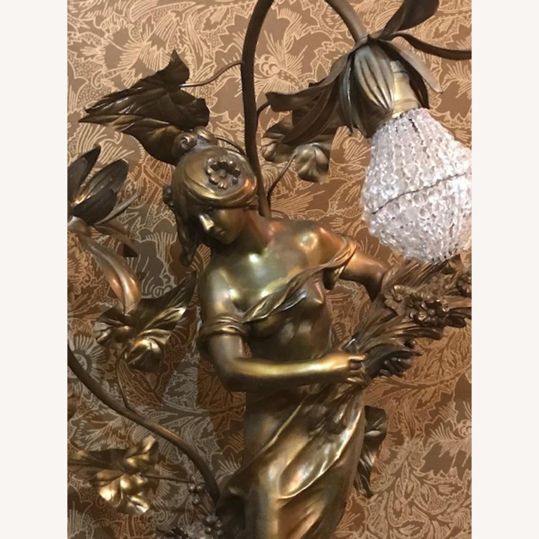 Antique Bronze Patina Statue Light on Pedestal - image-3