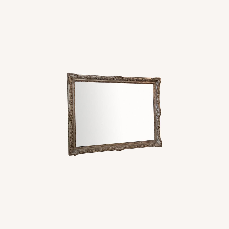 Antique Mirror Hand Carved Wood Frame - image-0