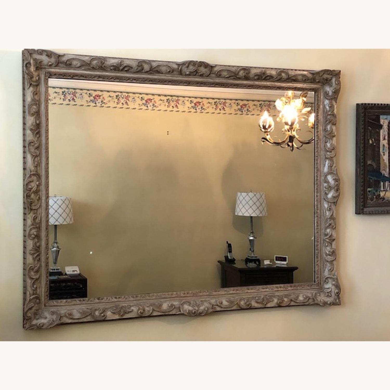 Antique Mirror Hand Carved Wood Frame - image-1