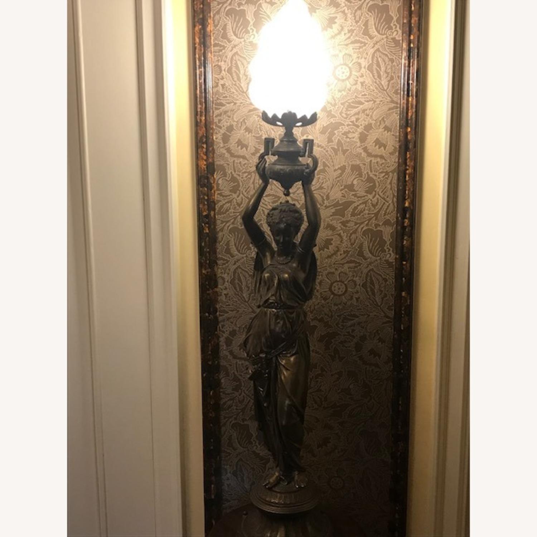 Antique Bronze Patina Figural Statue Light / Lamp - image-6