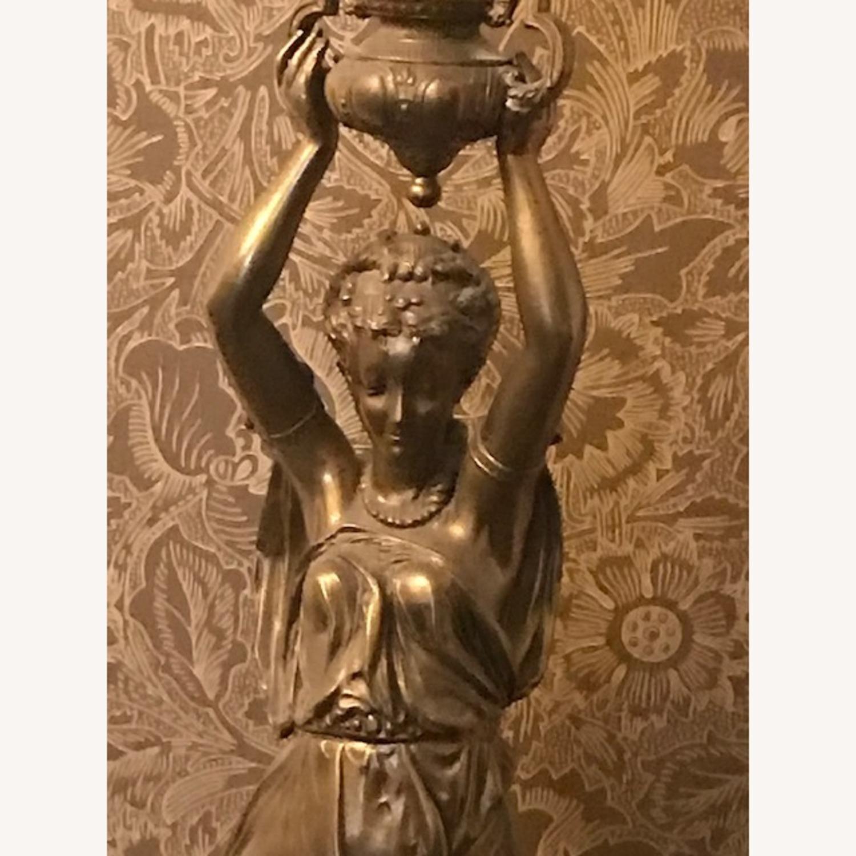Antique Bronze Patina Figural Statue Light / Lamp - image-3
