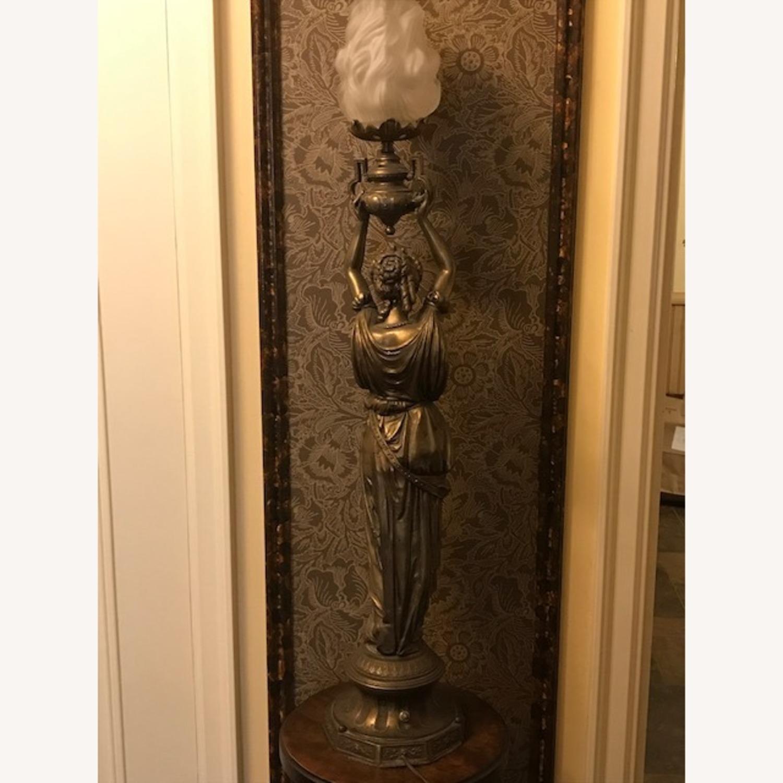 Antique Bronze Patina Figural Statue Light / Lamp - image-1
