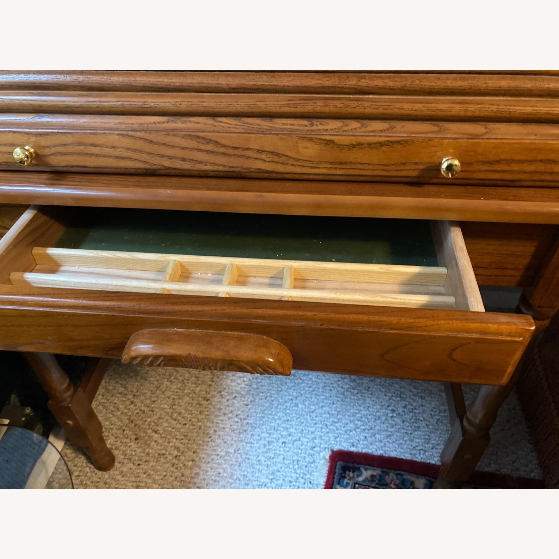 Coaster Small Roll-Top Oak Desk - image-3