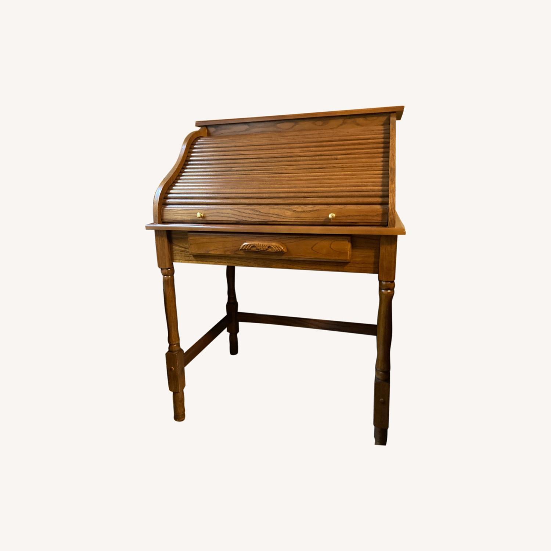 Coaster Small Roll-Top Oak Desk - image-0