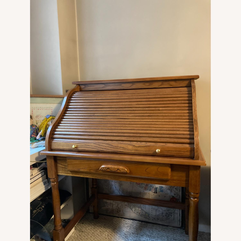 Coaster Small Roll-Top Oak Desk - image-1
