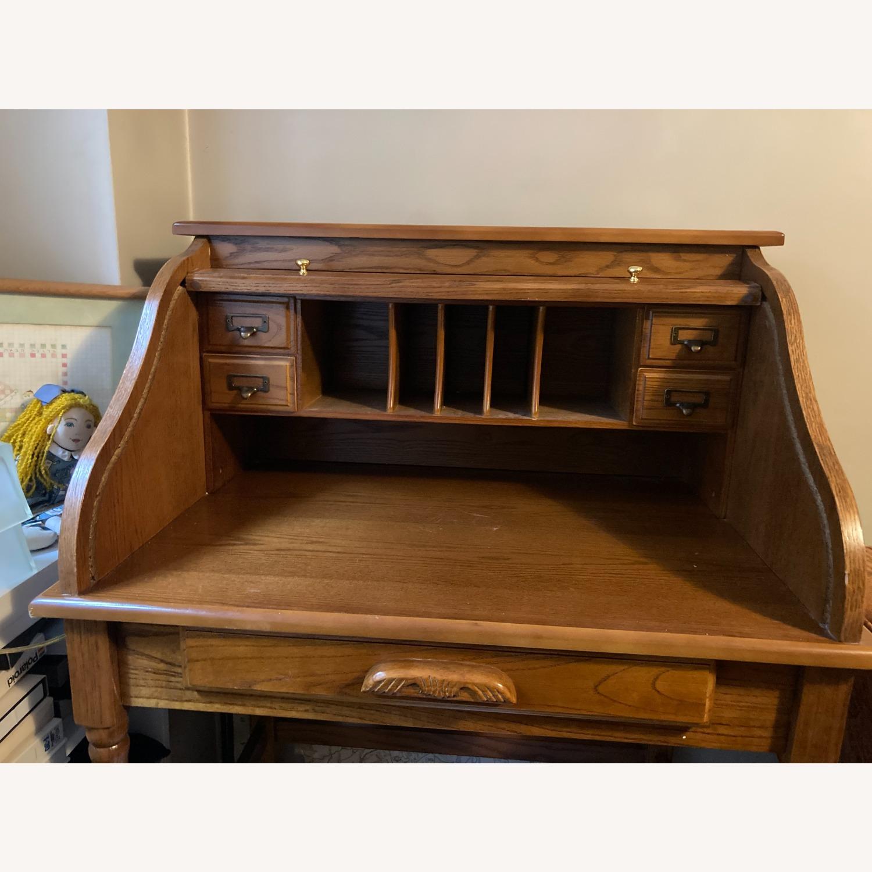 Coaster Small Roll-Top Oak Desk - image-4