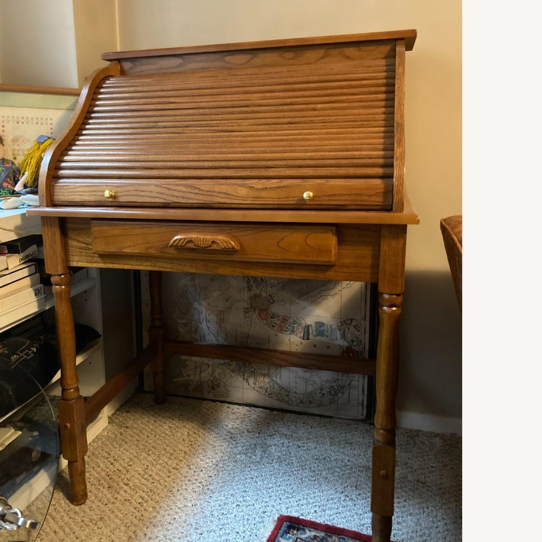 Coaster Small Roll-Top Oak Desk - image-6