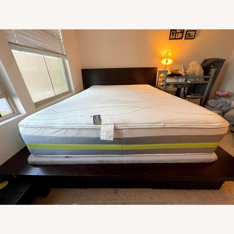 Queen Platform Bed - Solid Brown Wood - image-1