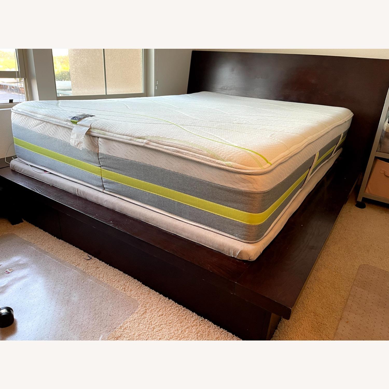 Queen Platform Bed - Solid Brown Wood - image-2