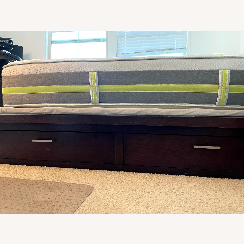 Queen Platform Bed - Solid Brown Wood - image-4