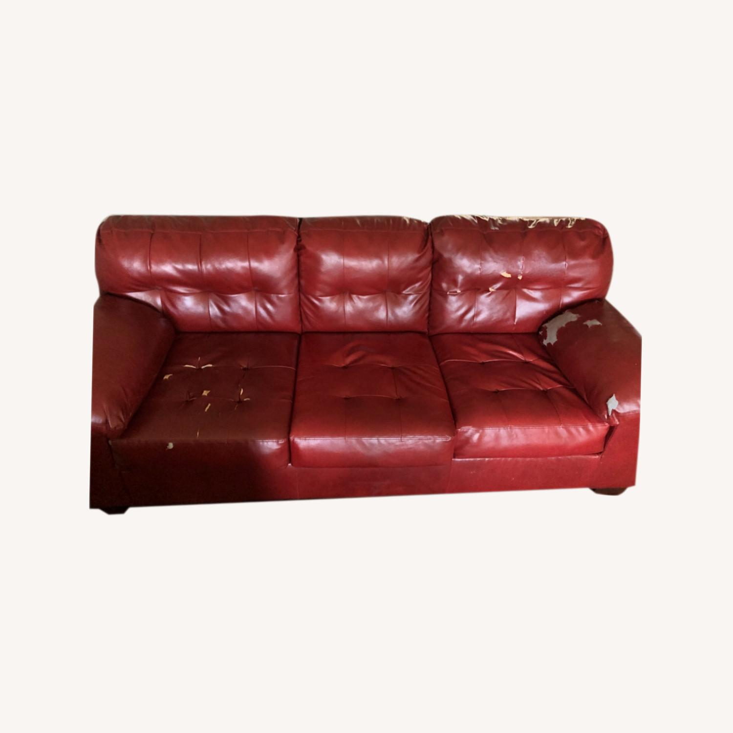 Red Leather Sofa - image-0