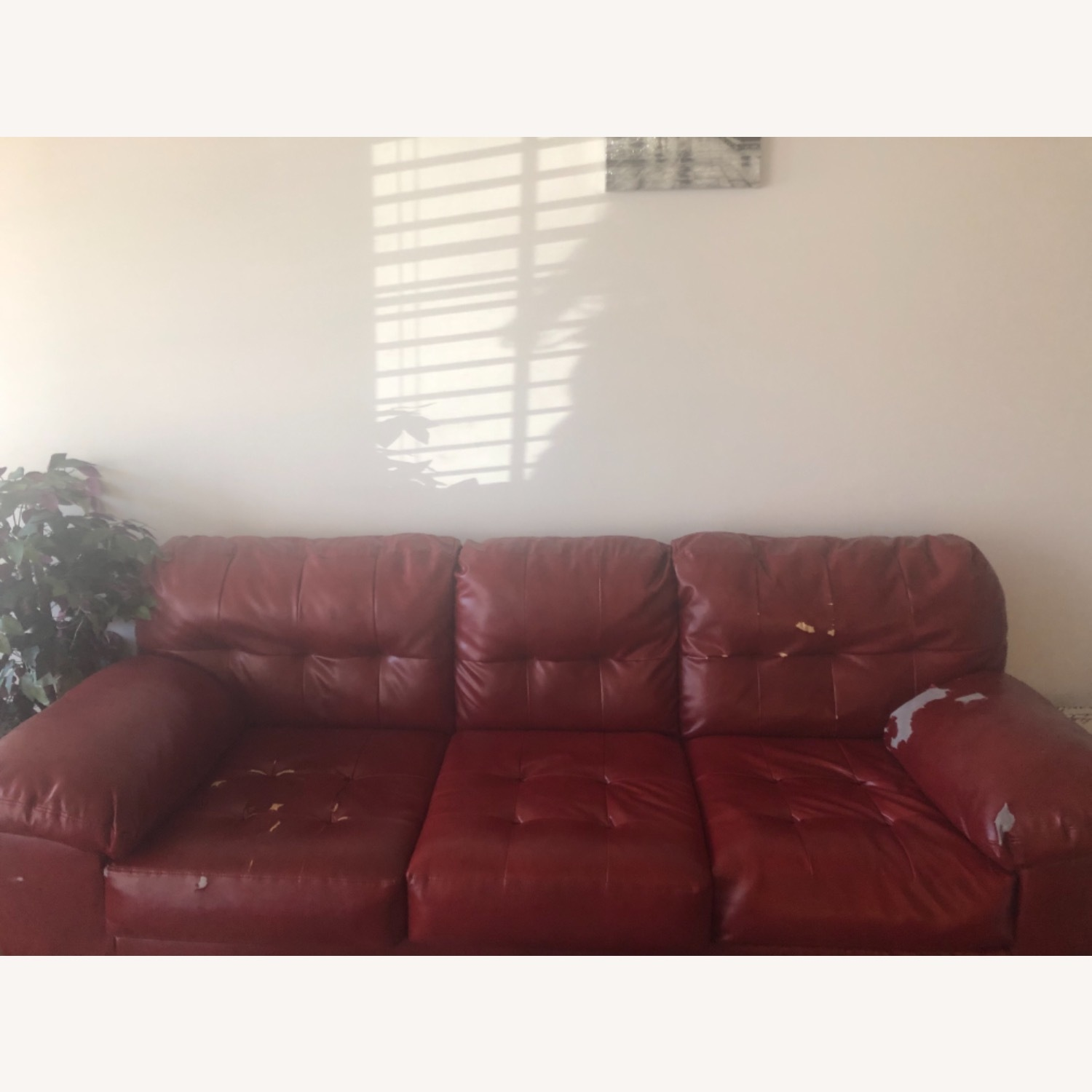 Red Leather Sofa - image-13
