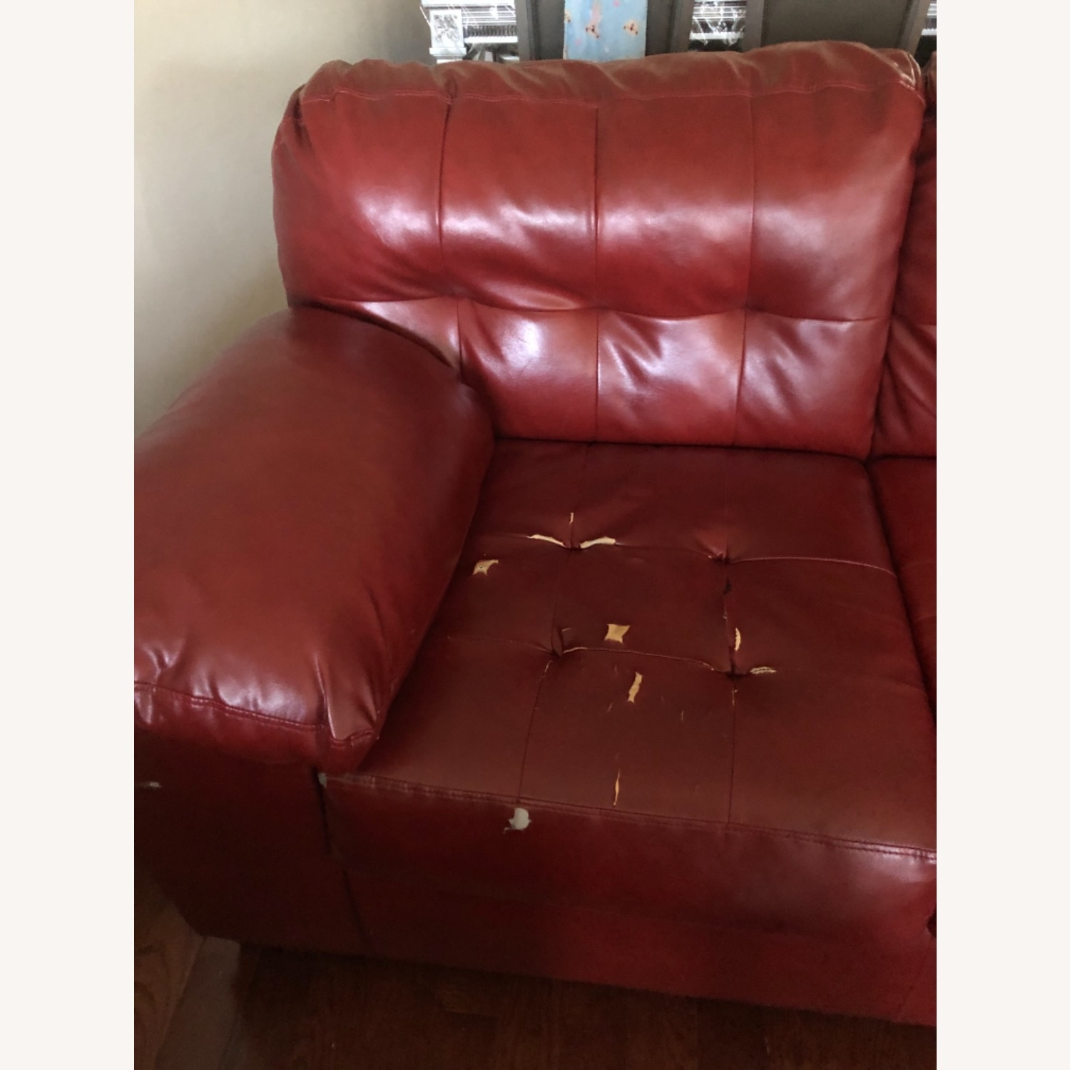 Red Leather Sofa - image-2