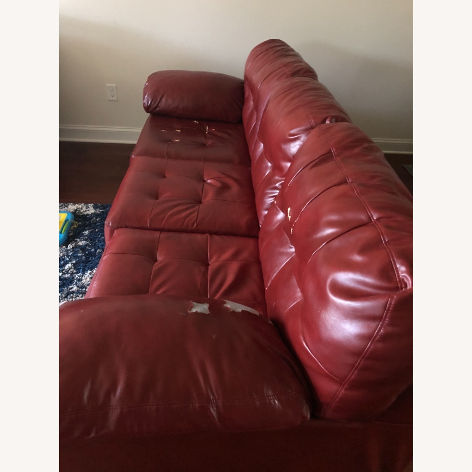 Red Leather Sofa - image-7