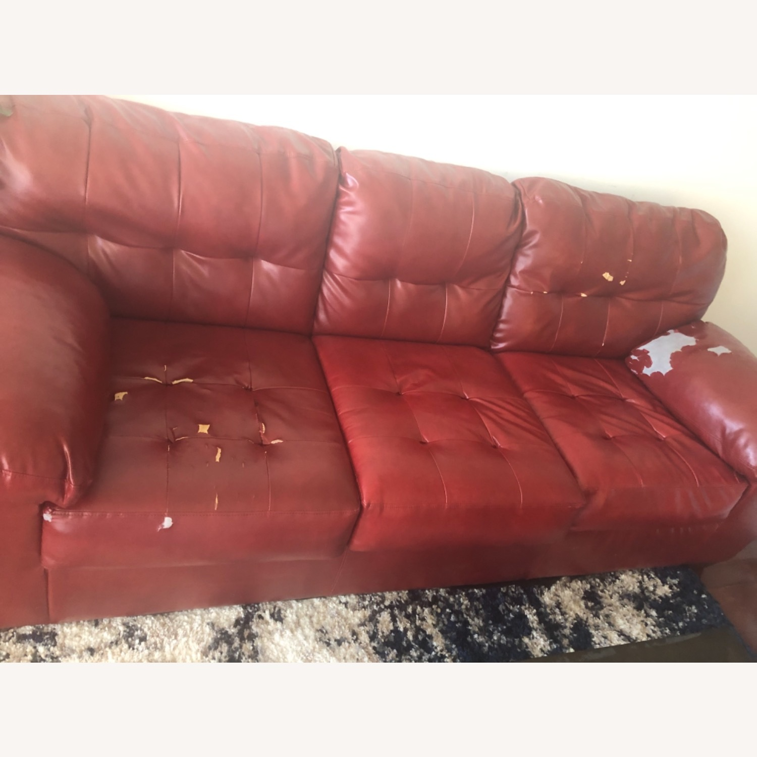Red Leather Sofa - image-11
