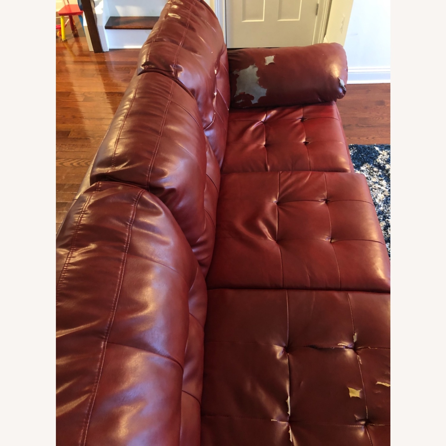 Red Leather Sofa - image-10
