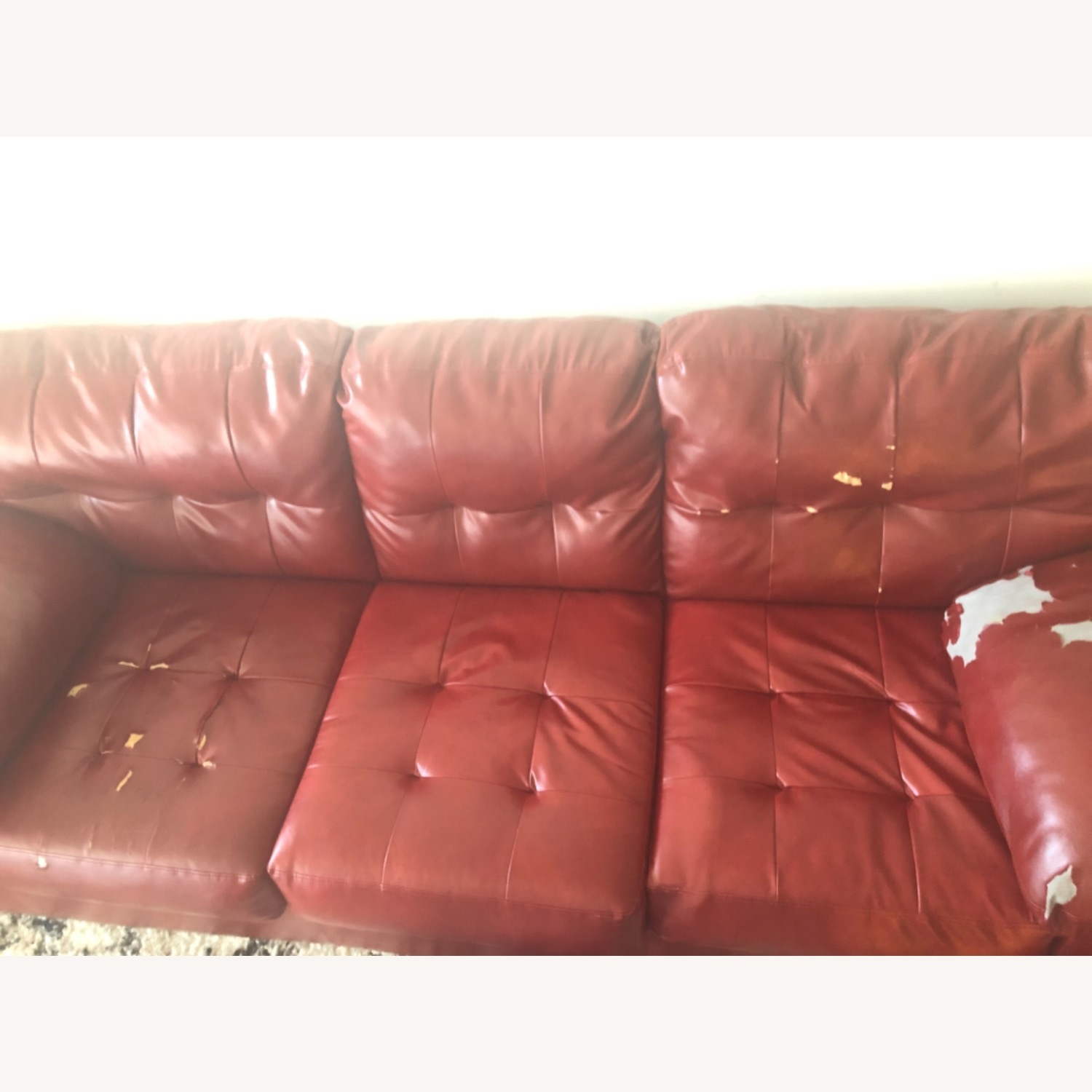 Red Leather Sofa - image-15