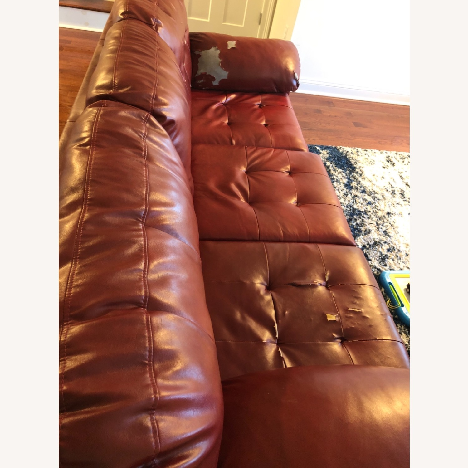 Red Leather Sofa - image-9
