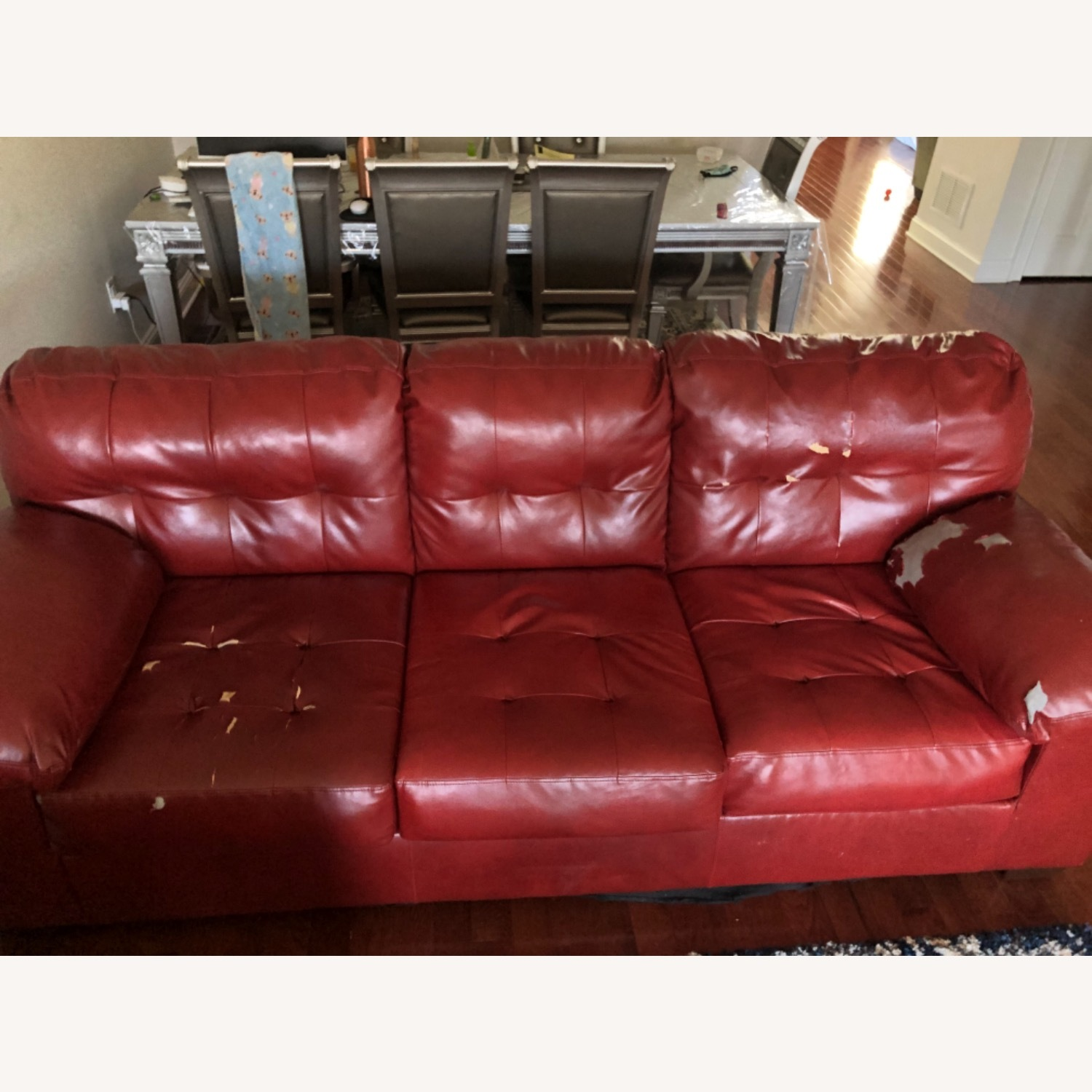 Red Leather Sofa - image-1