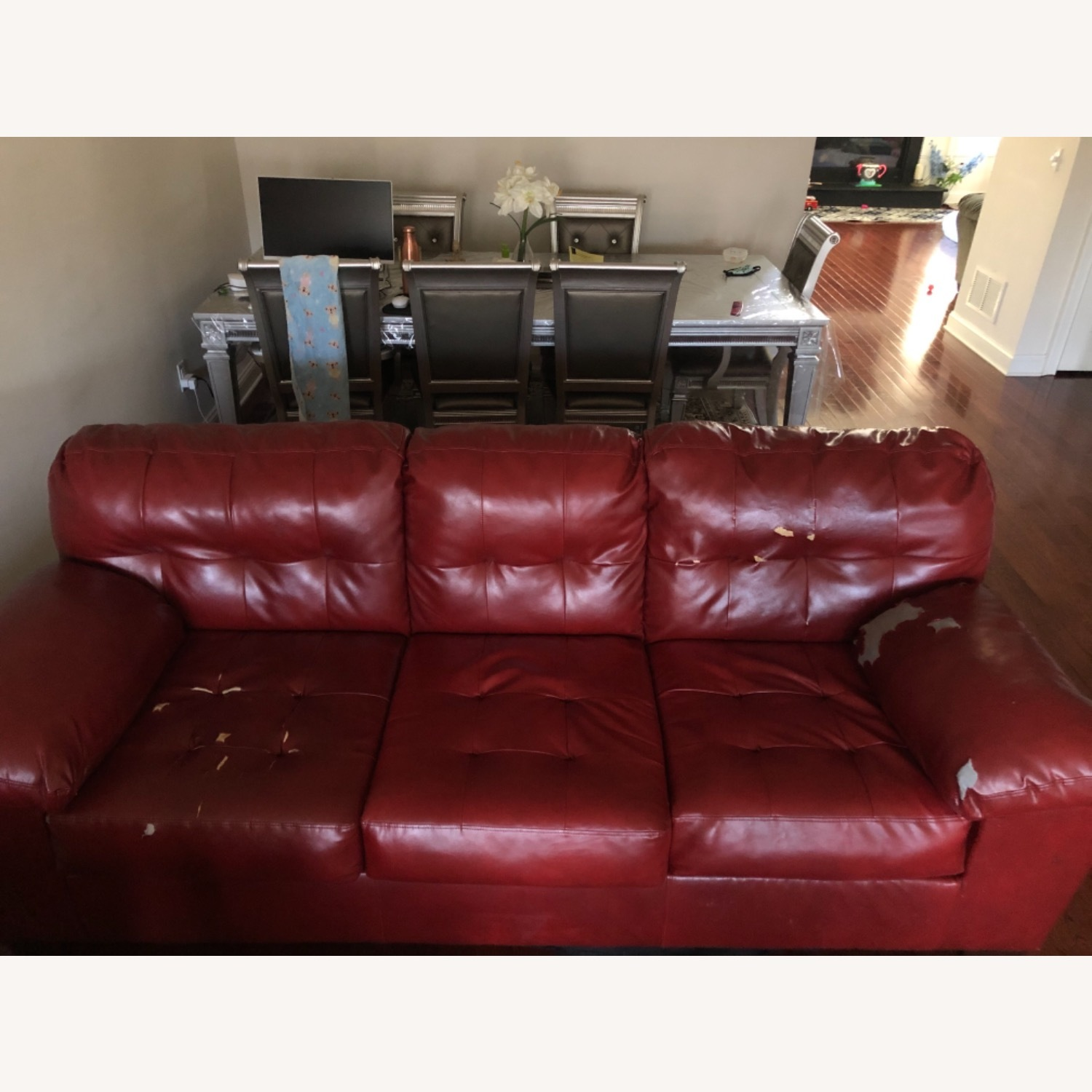 Red Leather Sofa - image-6