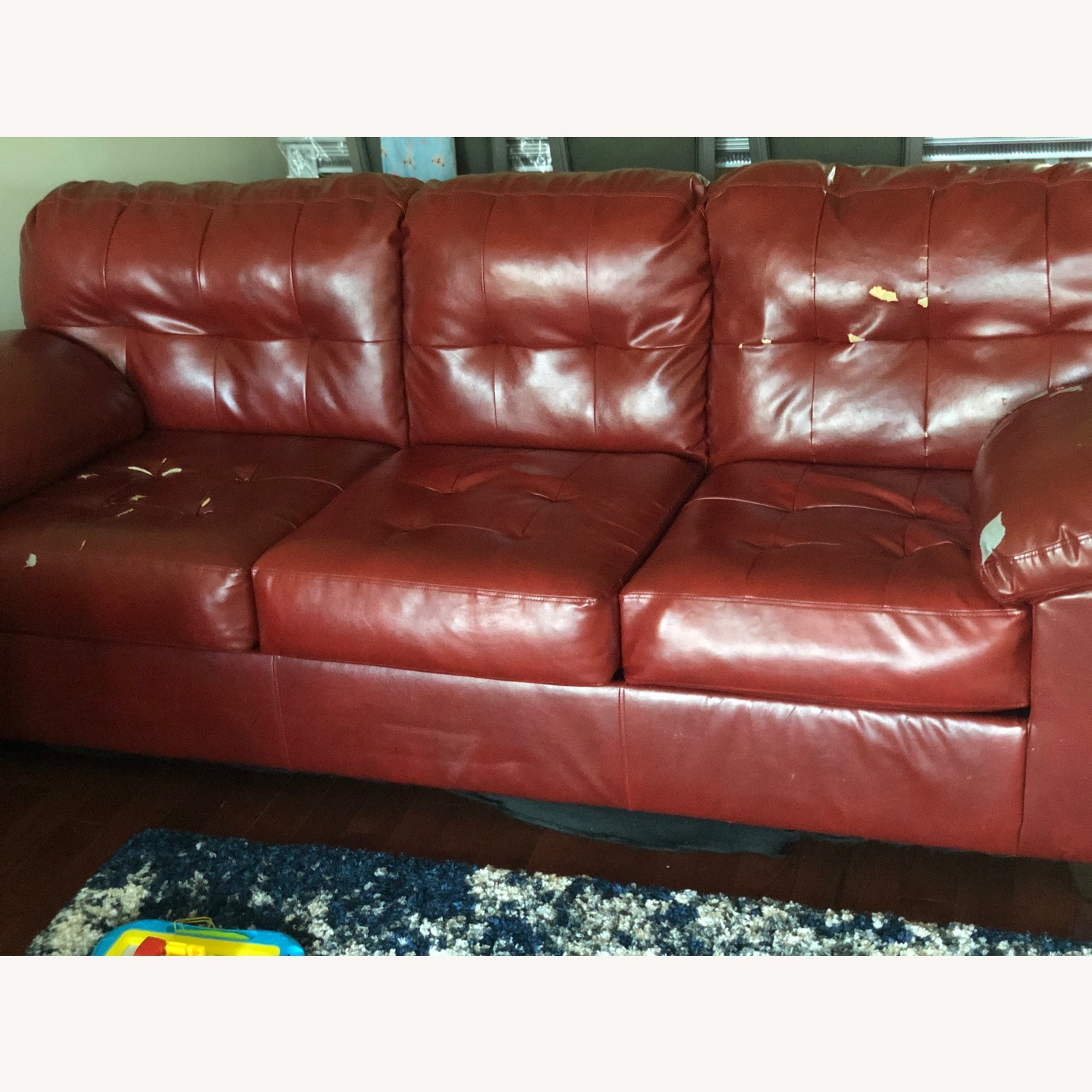 Red Leather Sofa - image-5
